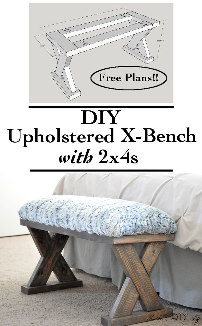 Such an easy and quick build!! And so cheap too! This DIY upholstered X-bench us...