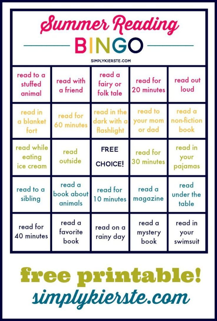 Summer Reading Bingo | Free Printable | Get kids reading this summer with this s...