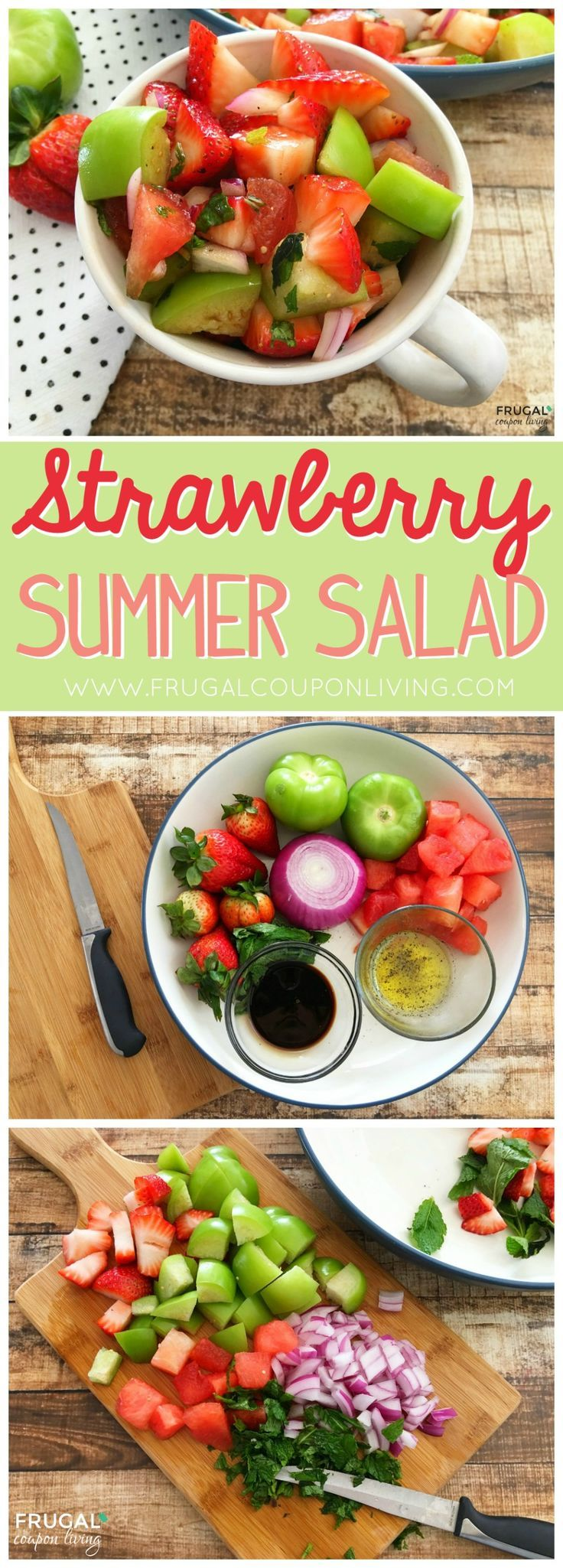 Summer Strawberry Salad with Watermelon, tomatillos, onions and more on Frugal C...