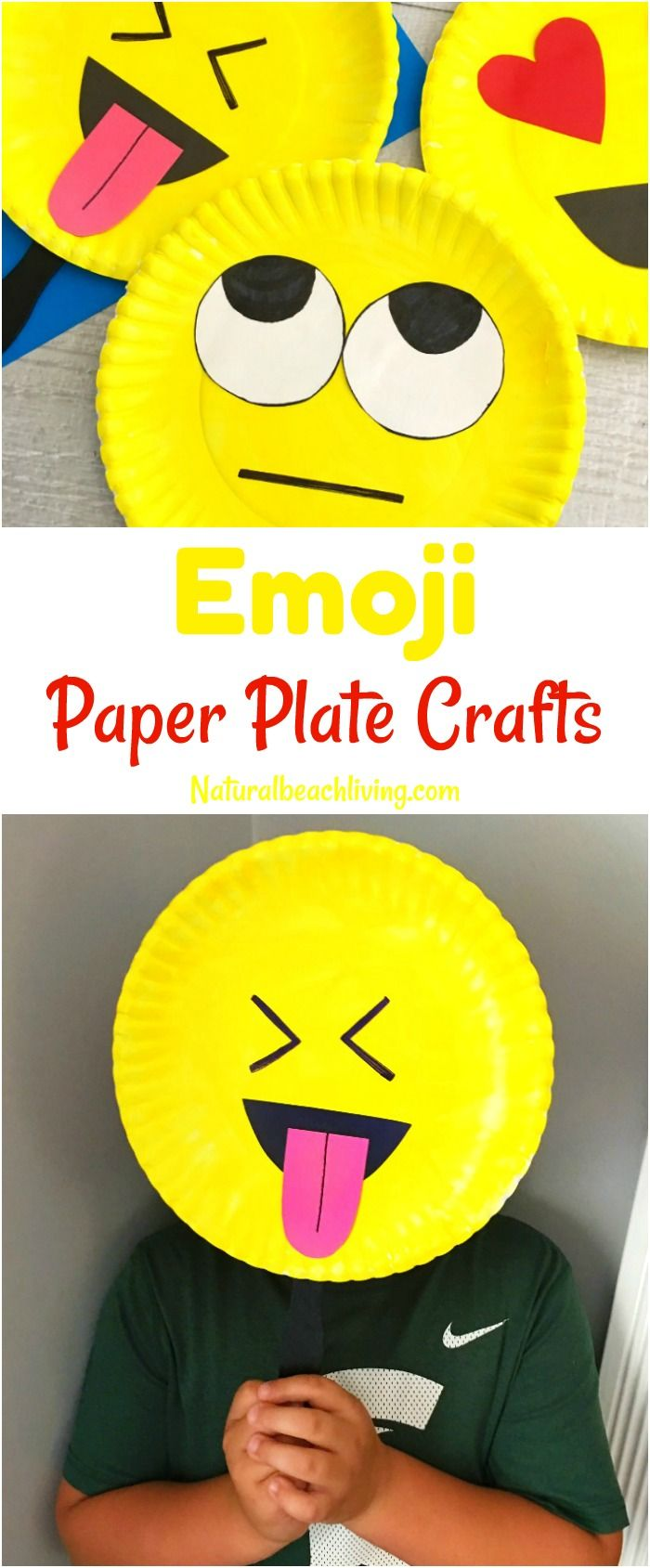 Super Cute Emoji Paper Plate Craft, Emotions Theme, Party Props, Emoji Party Ide...