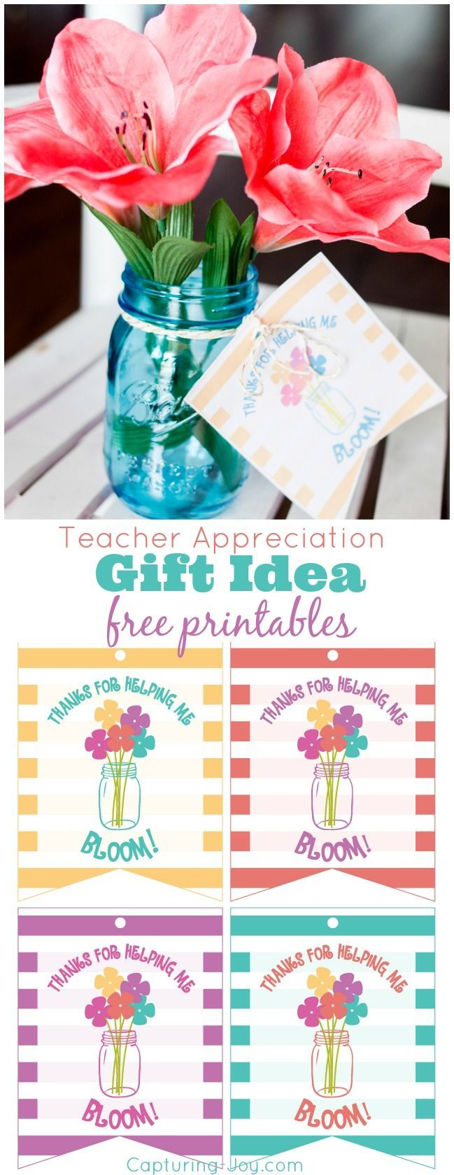 Teacher Appreciation Gift Idea Free Printables in 4 colors. Thank you for helpin...