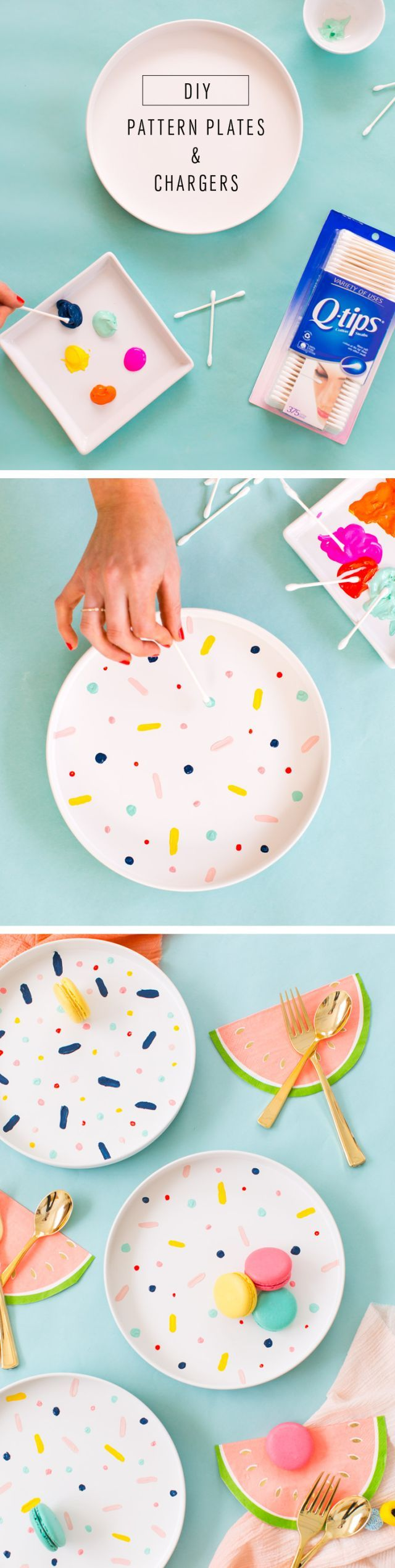 The perfect rainy afternoon craft project, DIY confett pattern placemats and cha...