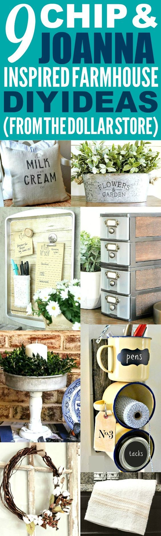 These 9 dollar store farmhouse decor ideas are THE BEST! I'm so happy I foun...