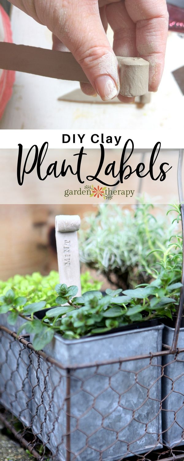 These clay plant stakes are made from air dry clay and rubber stamps. They can b...