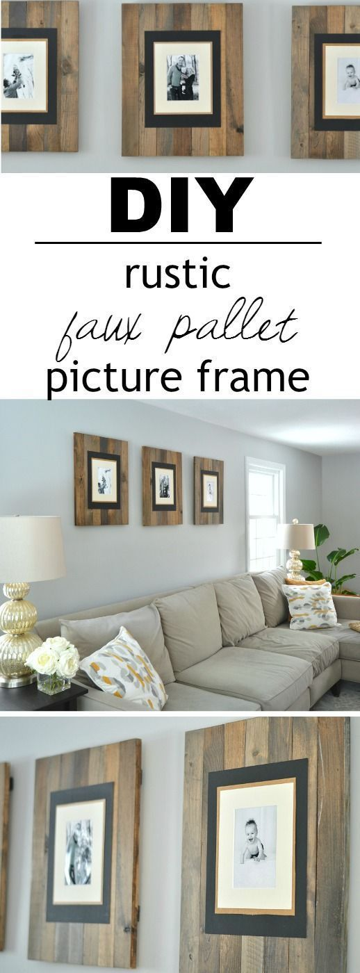 These picture frames look like they are made from reclaimed wood pallets but are...