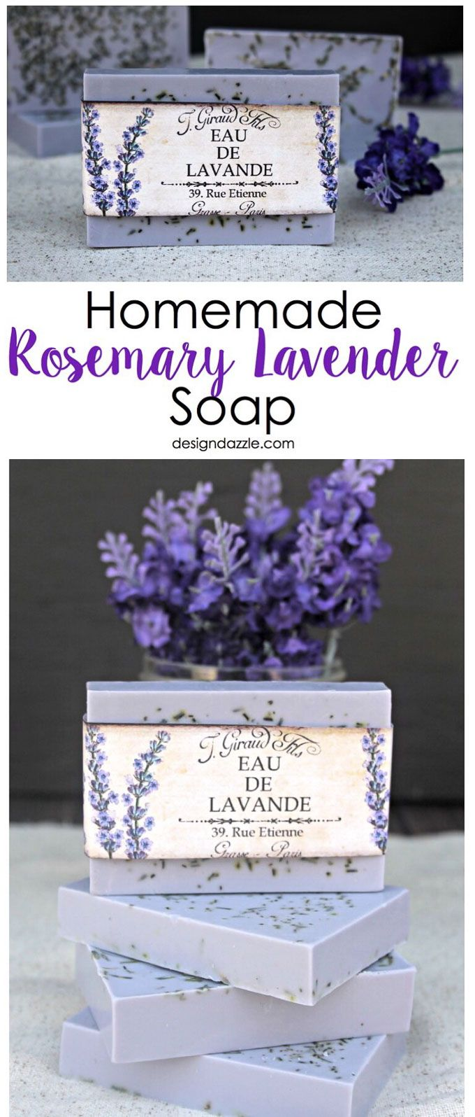 This Homemade Rosemary Lavender Soap recipe is surprisingly simple and turns out...