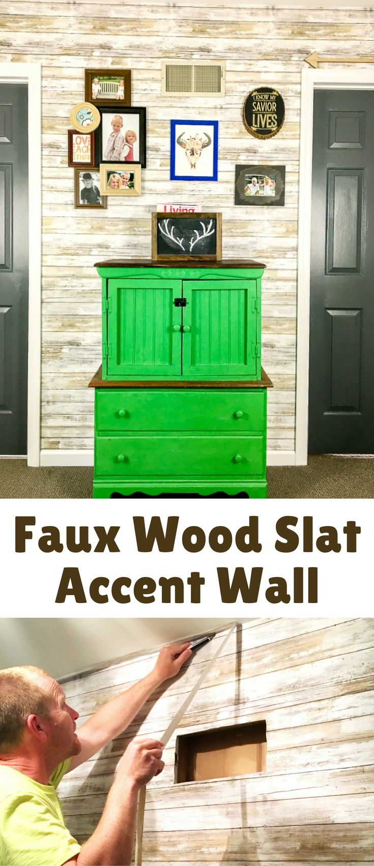 This faux wood slat accent wall is for all Fixer Upper fans who love the rustic ...
