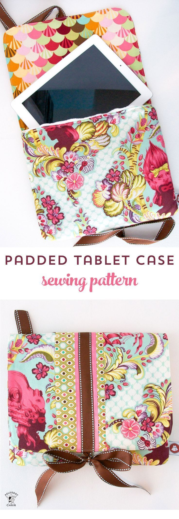 Tutorial for a padded ipad or tablet case. A free ipad case sewing pattern avail...
