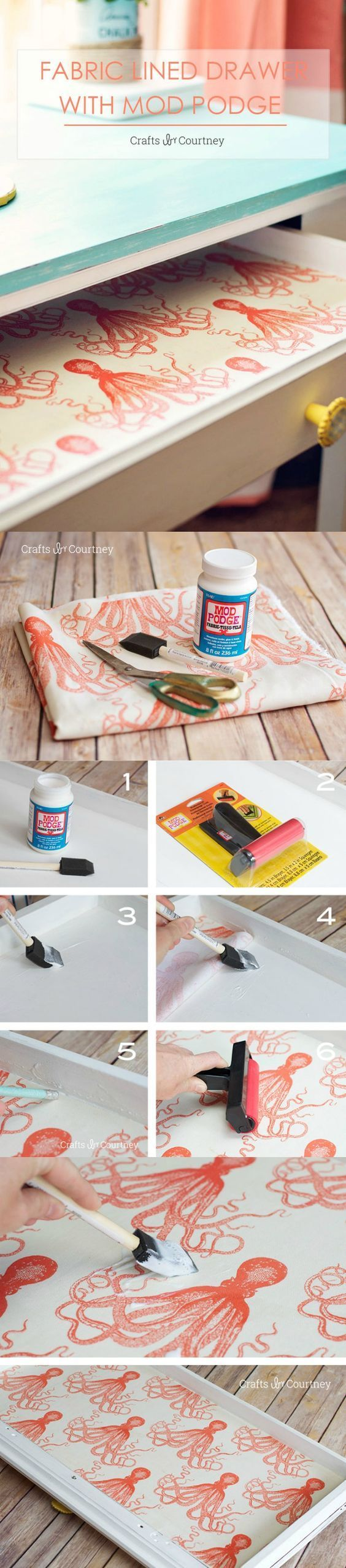 Use Mod Podge and your favorite fabric pattern to create these unique fabric lin...