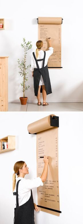 Wall Decor Idea - Install A Paper Roll Holder To Create A Fun Place To Write Lis...