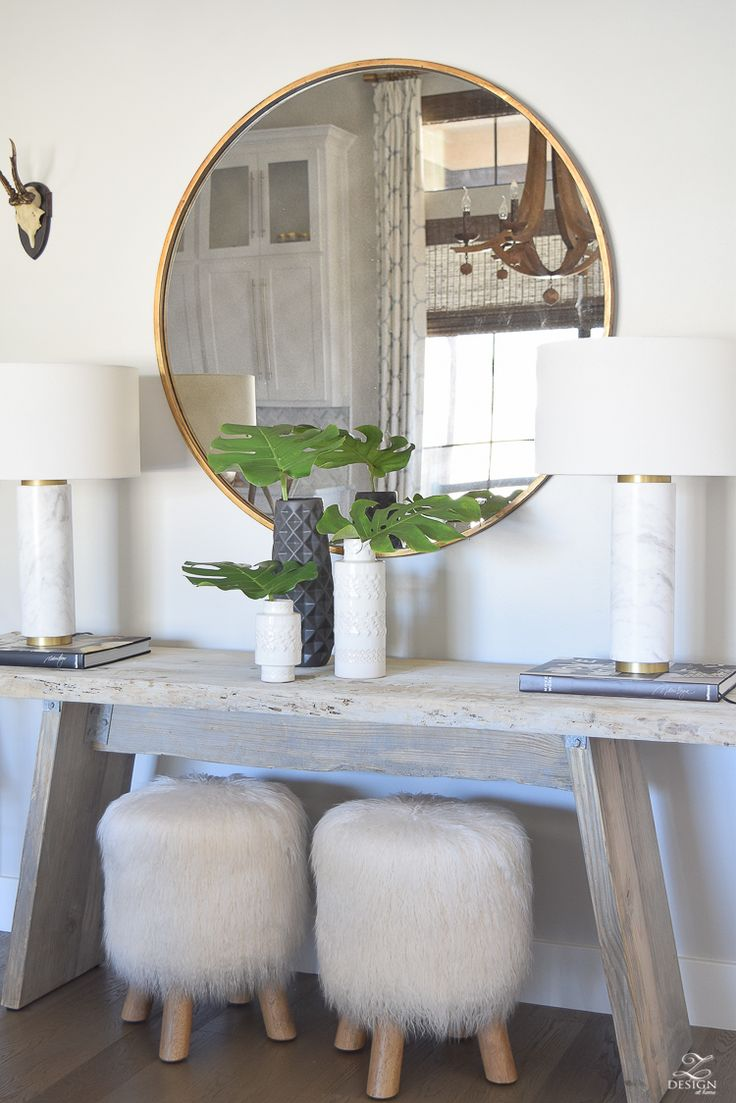 zdesign at home spring tour rustic console with round gold mirror fur stools phi...