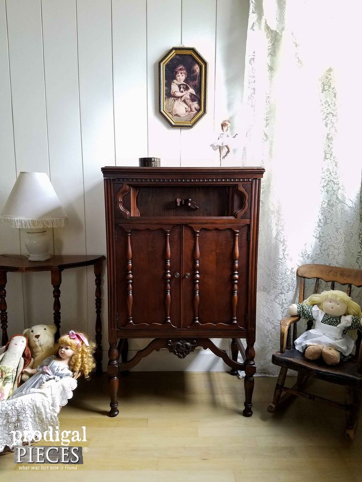 Antique Pooley Radio Cabinet Turned Dollhouse by Prodigal Pieces | www.prodigalp...