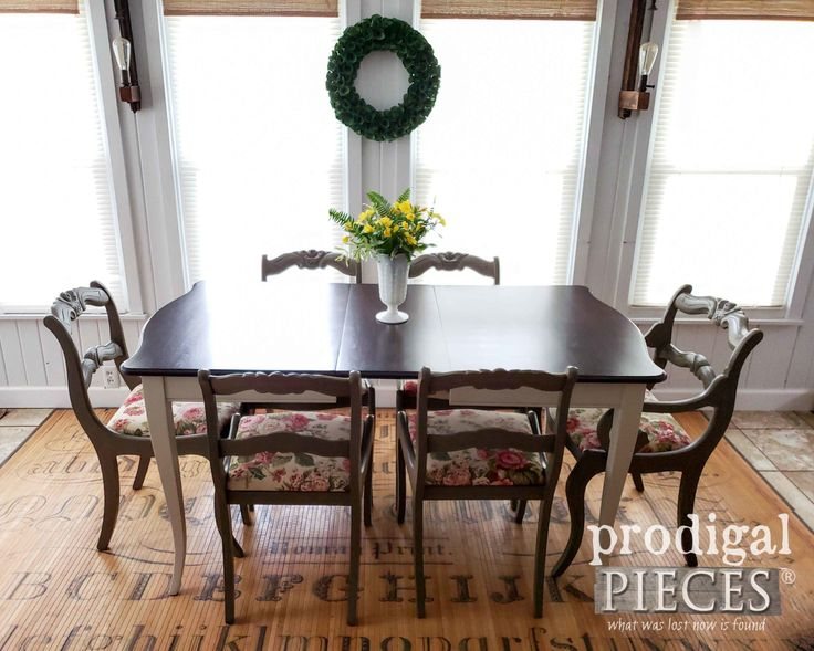 Beautifully Restored Vintage Dining Room Table with Upholstered Chairs by Lariss...