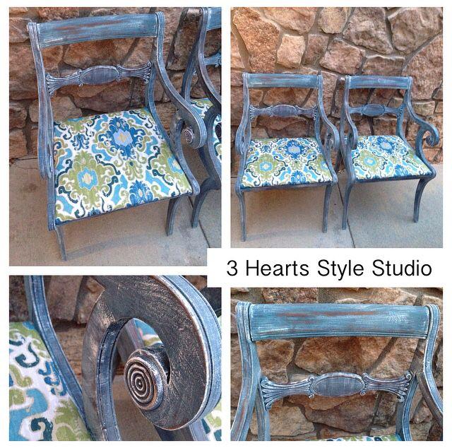 Blue vintage Drexel arm chairs with damask print cushion. Custom painted furnitu...