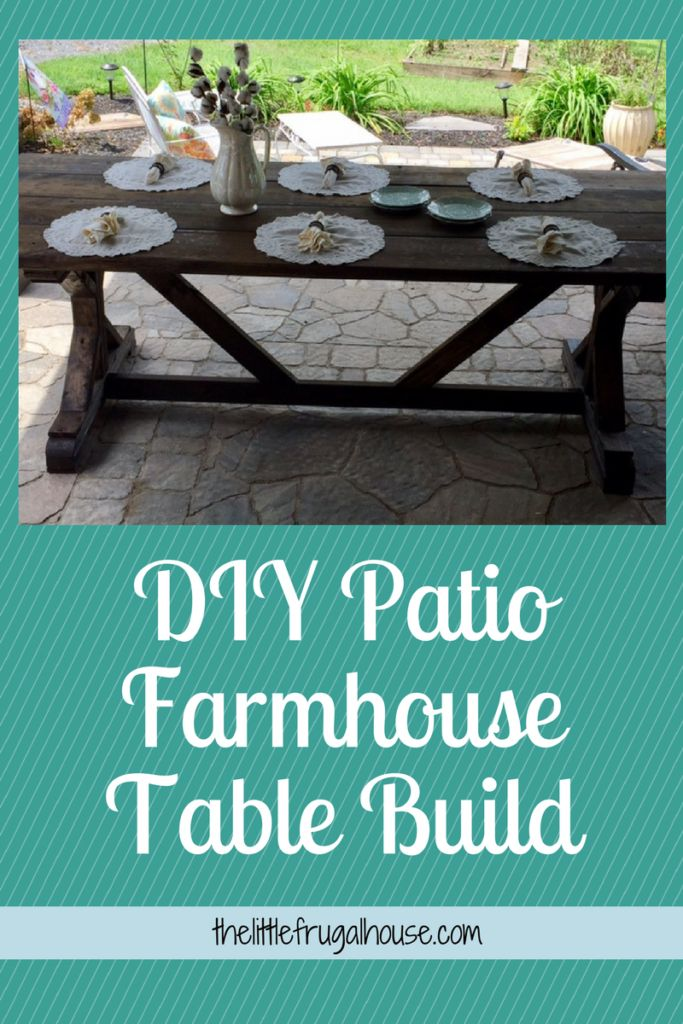 Build your own patio farmhouse table with this easy plan and only $65! I love th...