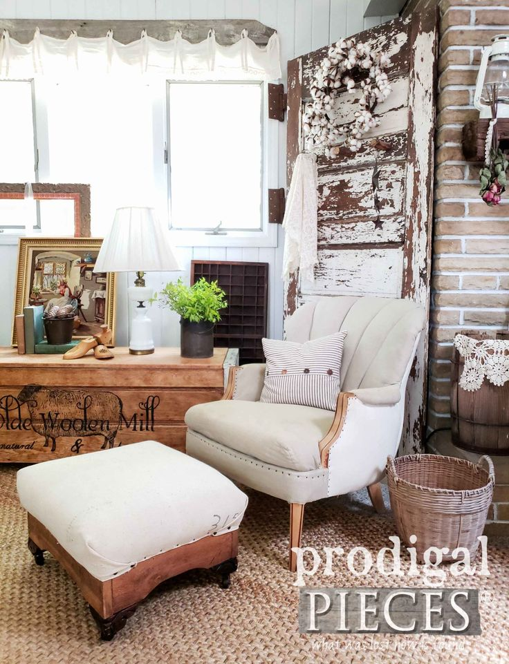DIY Deconstructed Ottoman and Chair for Rustic Farmhouse Style by Larissa of Pro...