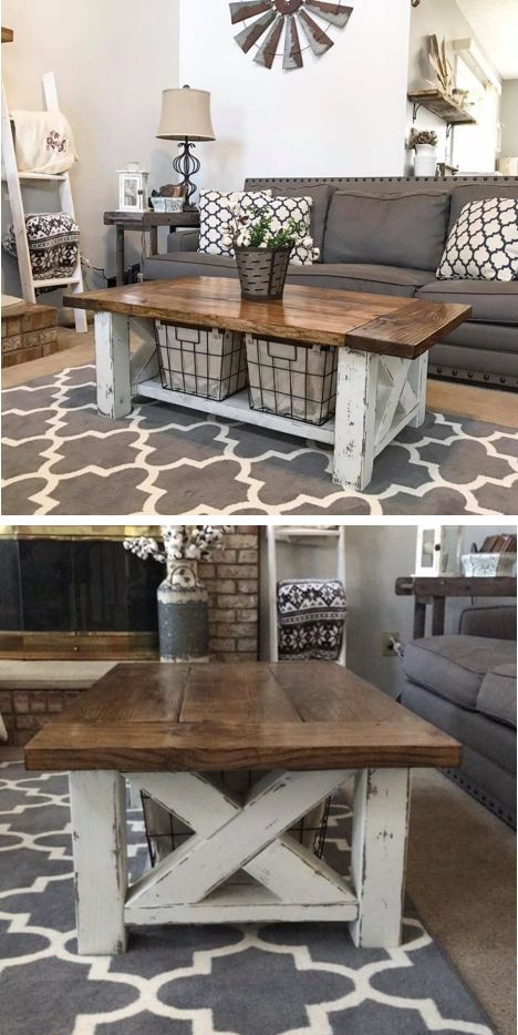 DIY Farmhouse Coffee Table - For the Home Living Room - Two tone woodworking pla...