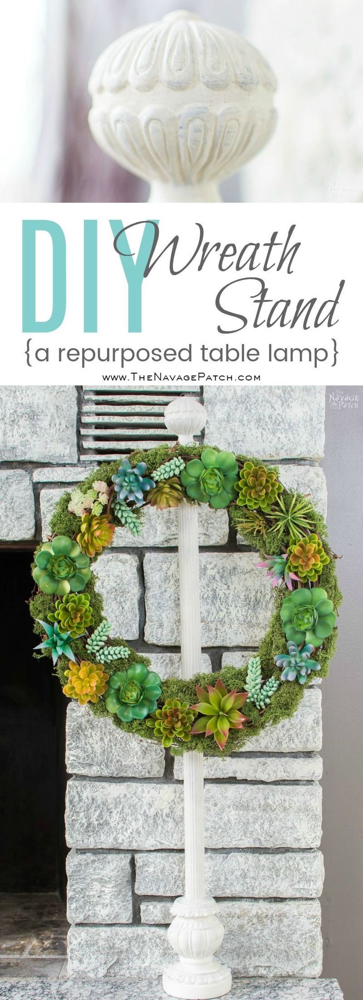 DIY Wreath Stand | How to make a table top wreath stand from a table lamp | How ...