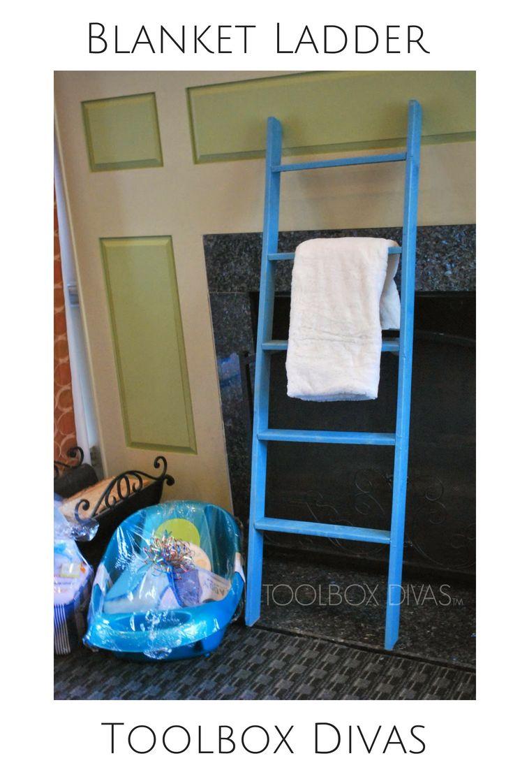 DIY blanket ladder for easy storage. #diy #ladder #stoage #toolboxdivas