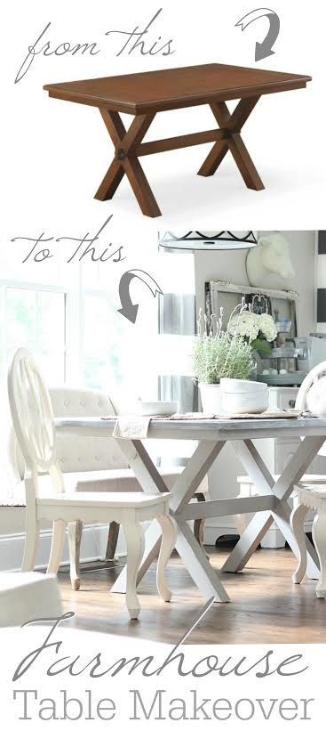 DIY painted farmhouse table makeover - from brown to beautiful shades of gray. P...