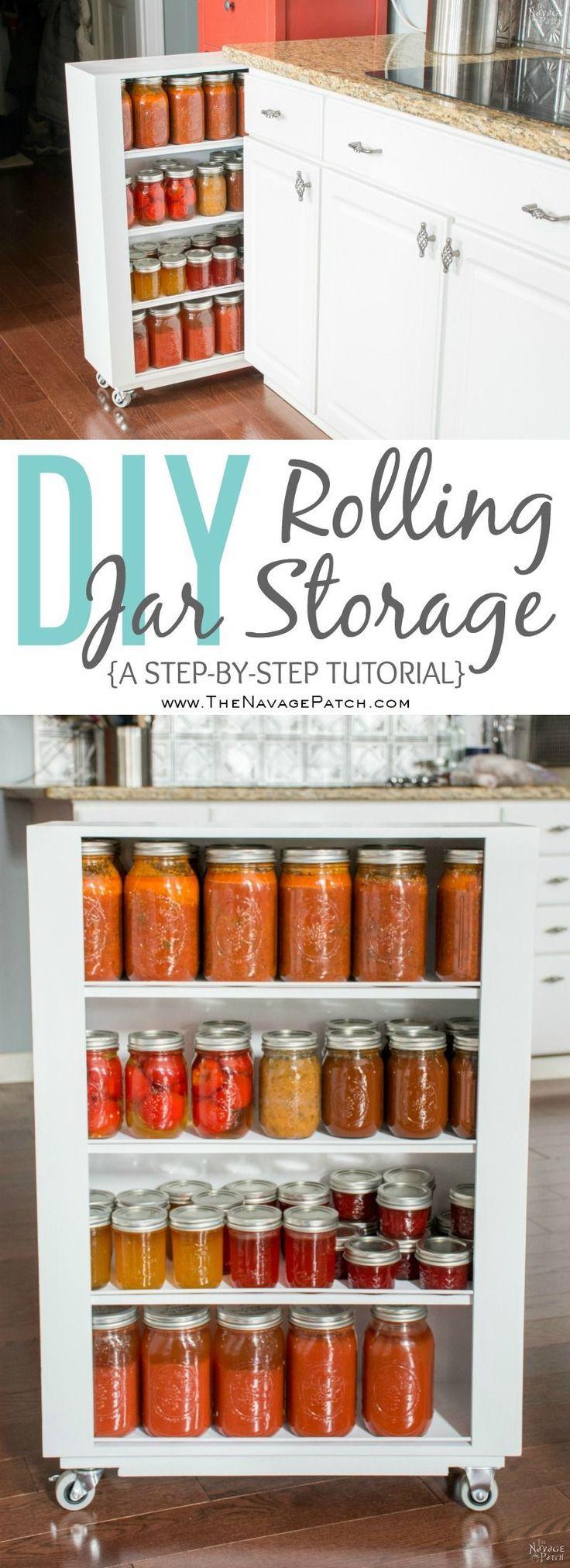 DiY Rolling Storage | Diy pull-out kitchen shelves | Diy Jar storage shelves wit...