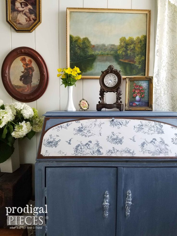 English Cottage Vignette with Toile Secretary Desk by Prodigal Pieces | prodigal...