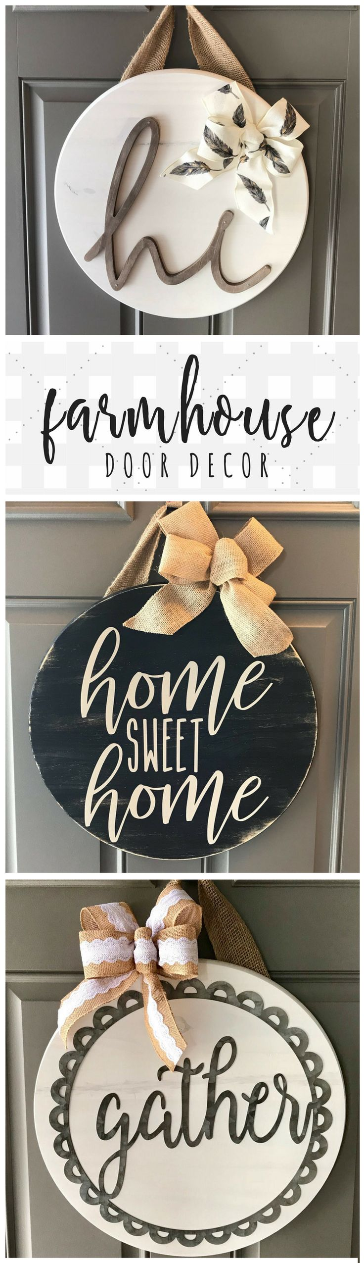 Farmhouse door hangers found on Etsy! Love these circle pieces, so beautifully d...