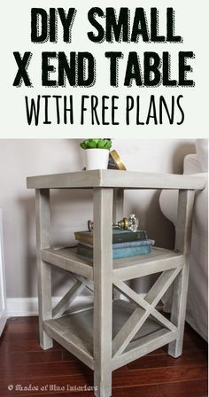 Free plans for a tall and skinny X end table with 2 shelves. Build this table yo...