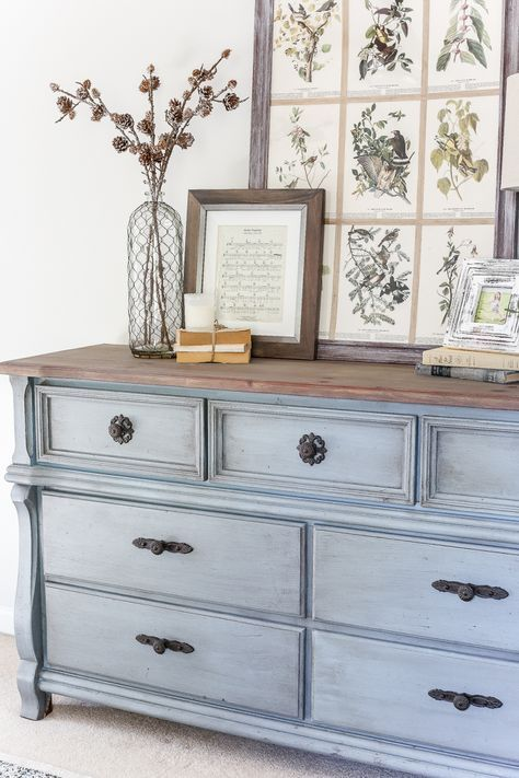 French Blue Dresser Makeover | blesserhouse.com - An orange wood thrifted dresse...