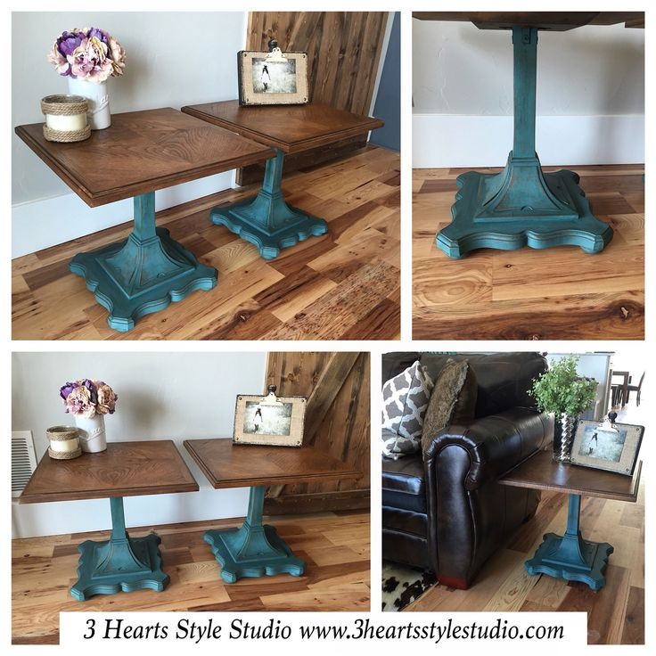 French provincial Drexel end tables in dark teal. For more items like these chec...