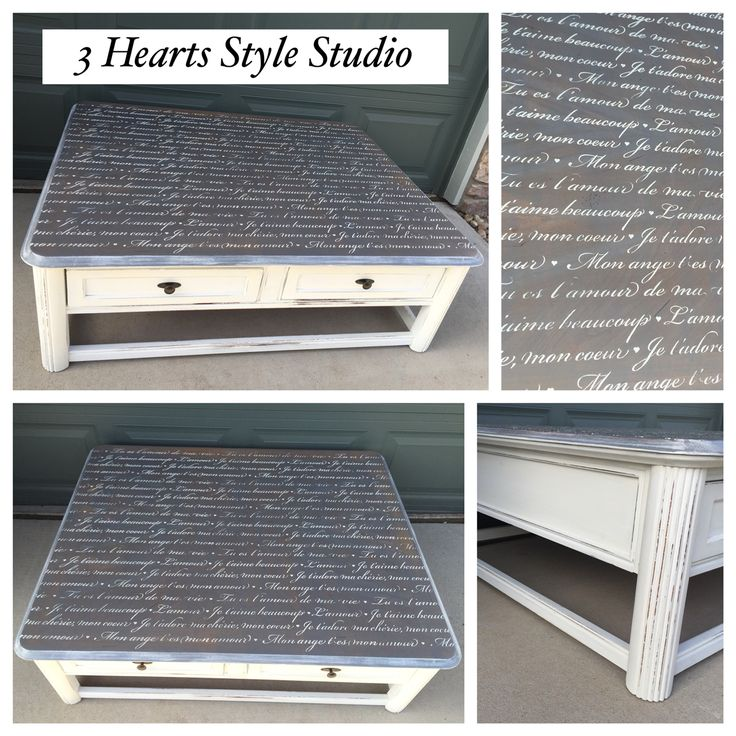 French script coffee table|driftwood|old white|refinished furniture|painted furn...