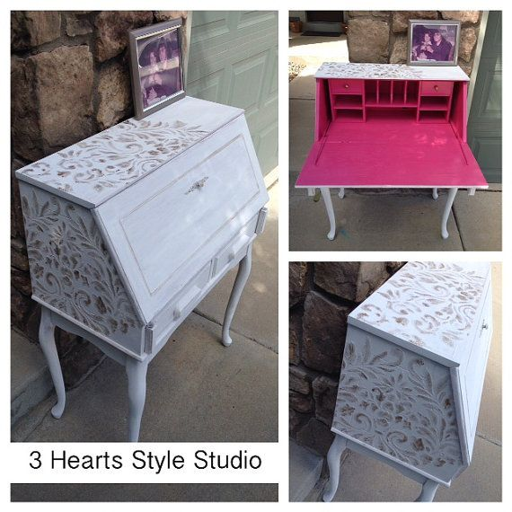 Hot Pink Interior Secertary Desk Damask by 3HeartsStyleStudio in Denver, CO. Lov...