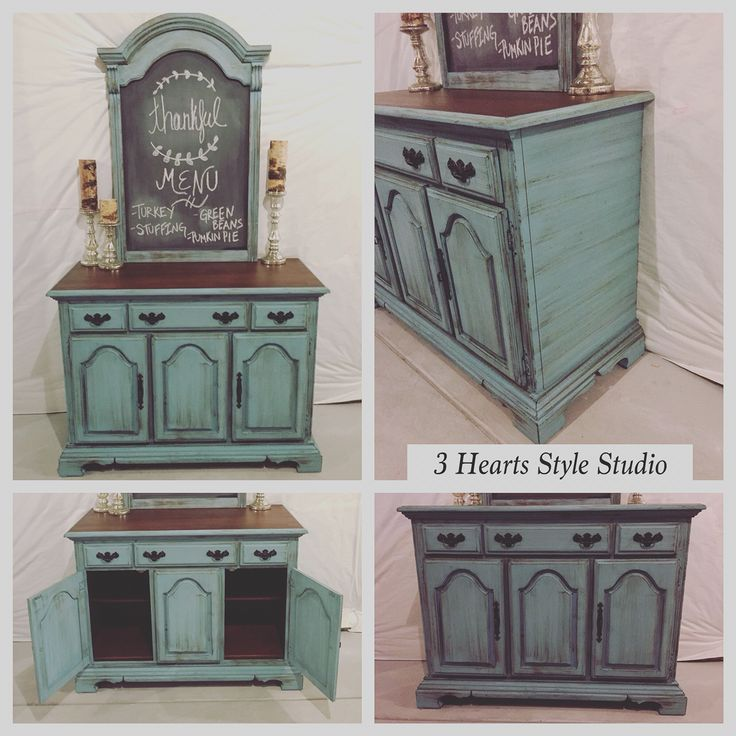 Light antique teal buffet with chalkboard and a dark walnut stained top. Click h...