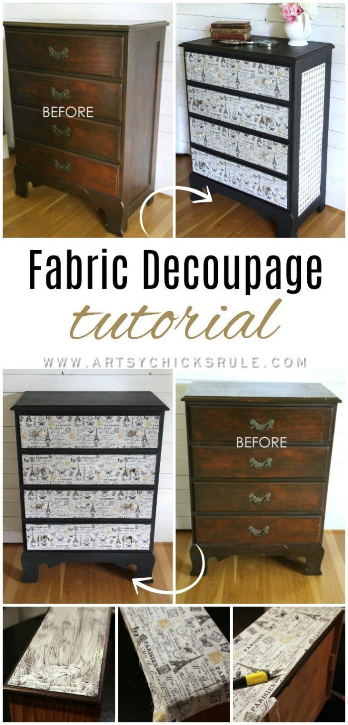 Love this look!! French Fabric Decoupage Tutorial - artsychicksrule.com #fabricd...