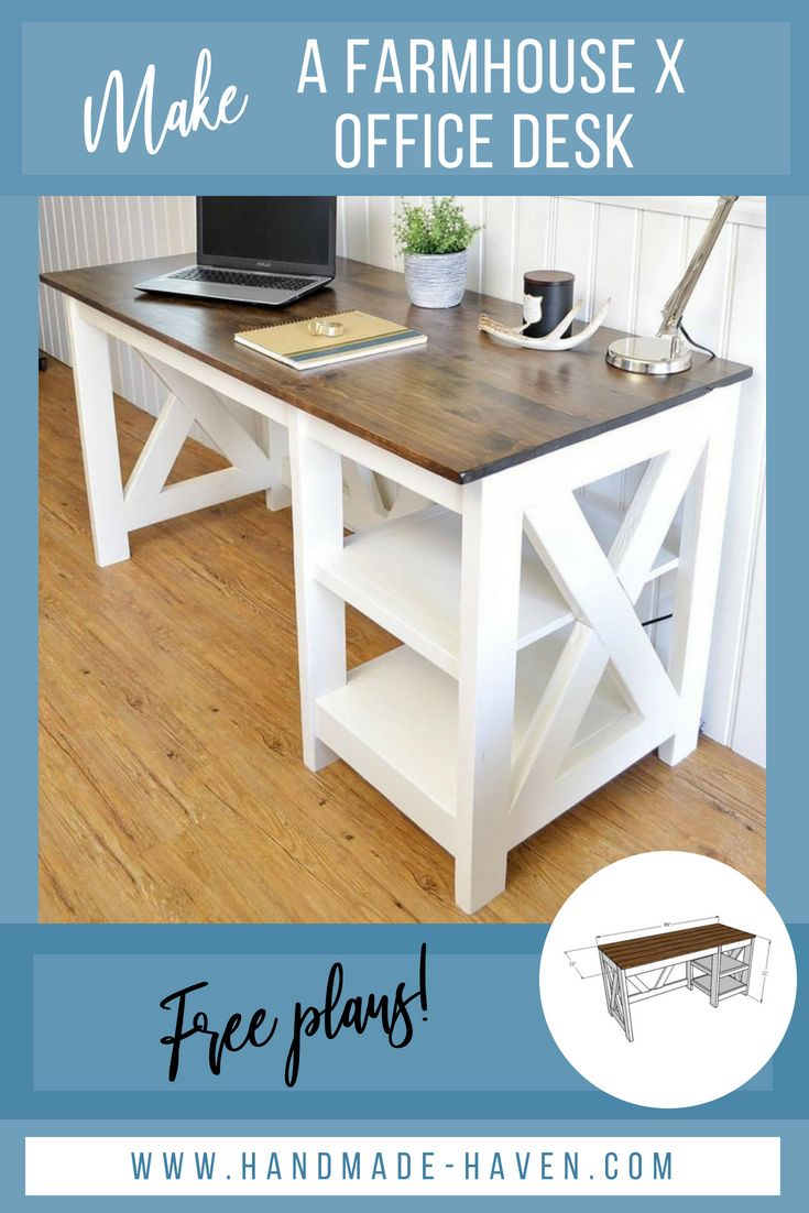 Make this Farmhouse Desk for your home! Free woodworking plans for this farmhous...