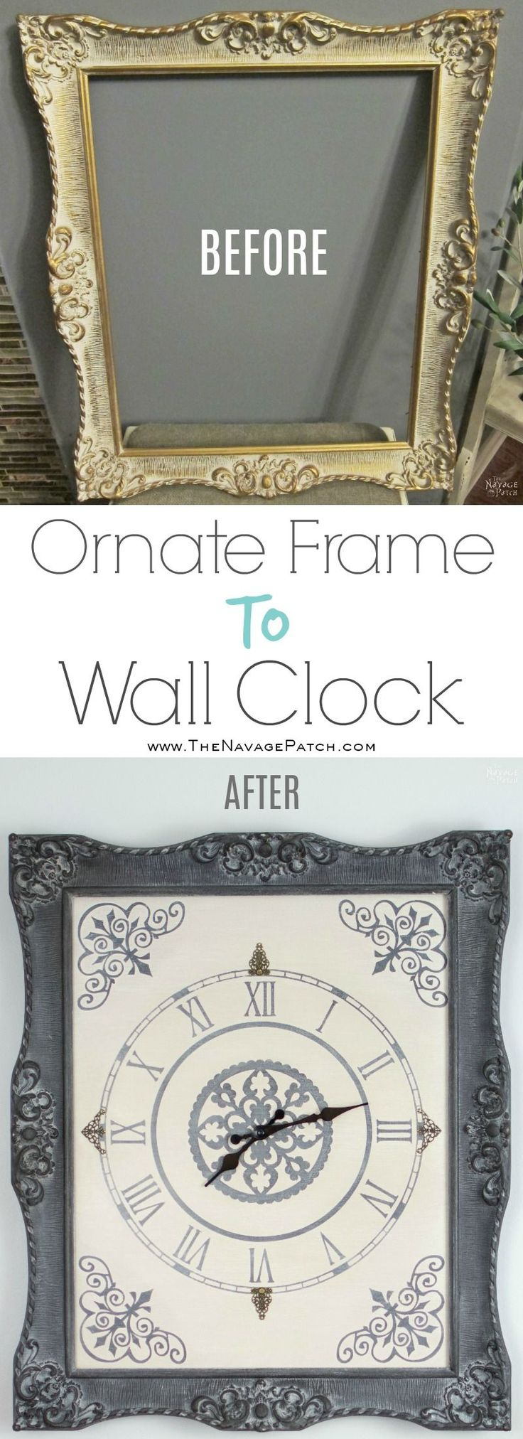 Ornate Frame to Wall Clock | Upcycled picture frame | How to make a wall clock f...
