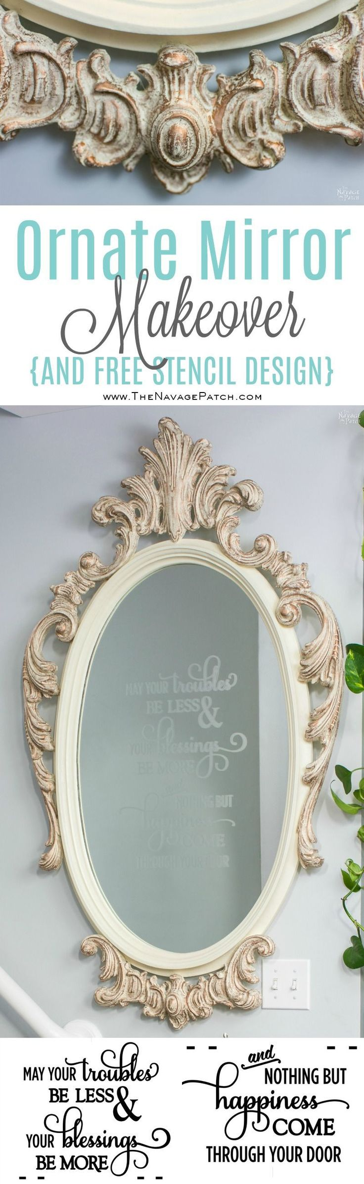 Ornate Mirror Makeover | Updating an ornate mirror with frosted glass spray and ...