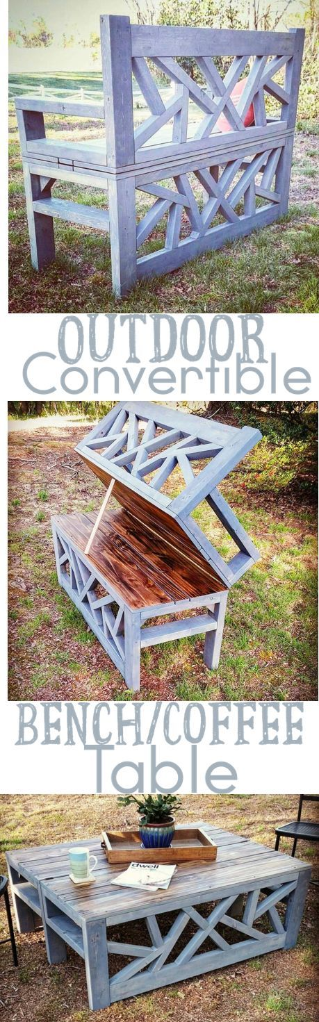 Outdoor Coffee Table Bench Convertible DIY Woodworking Plans... Get the a copy o...