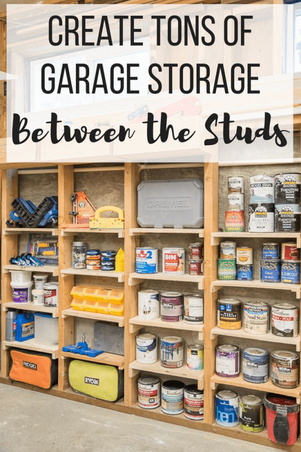 Reclaim that unused garage space! These simple shelves utilize the space between...