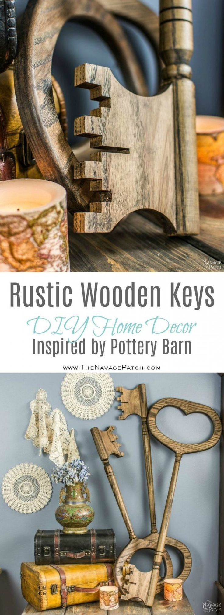 Rustic Wooden Keys Inspired by Pottery Barn   Pottery Barn Knockoff   DIY Wooden...