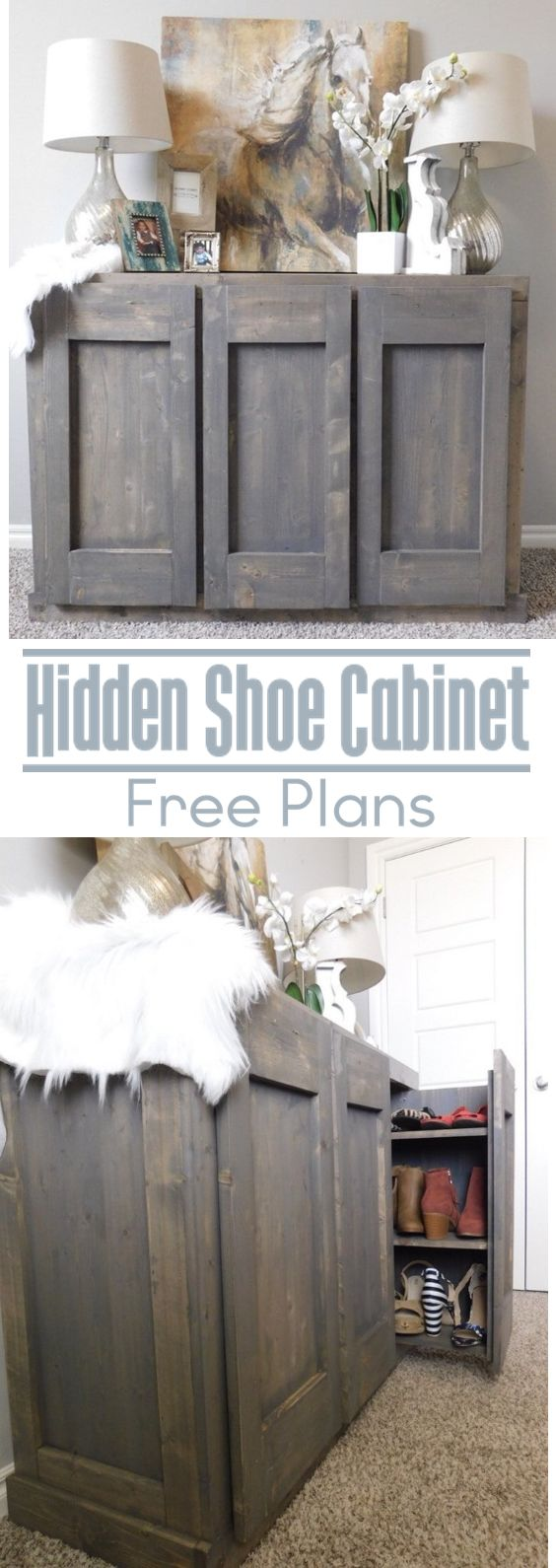 Step by step how to on building this hidden shoe storage cabinet