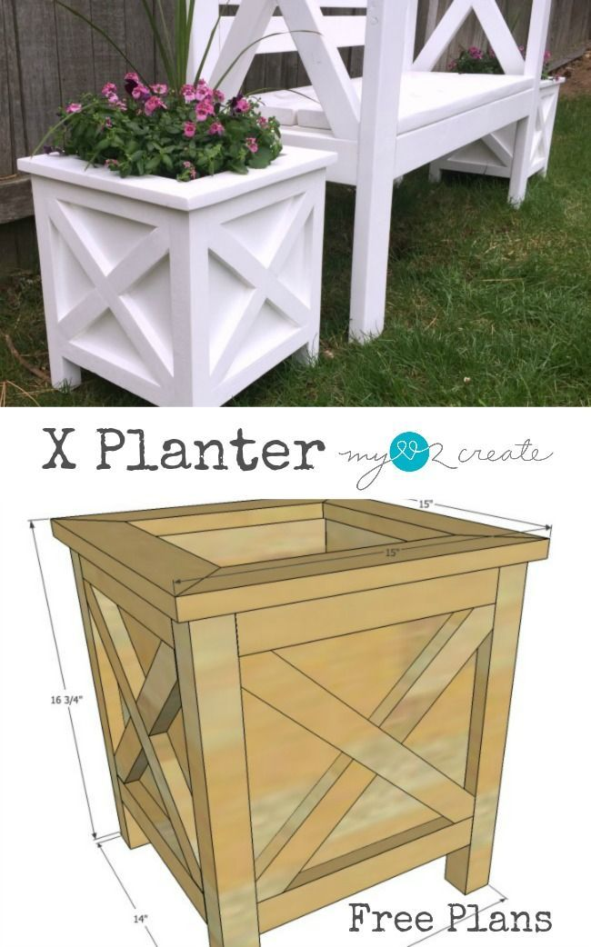 Super cute planter box with X detail. free plans #woodworking