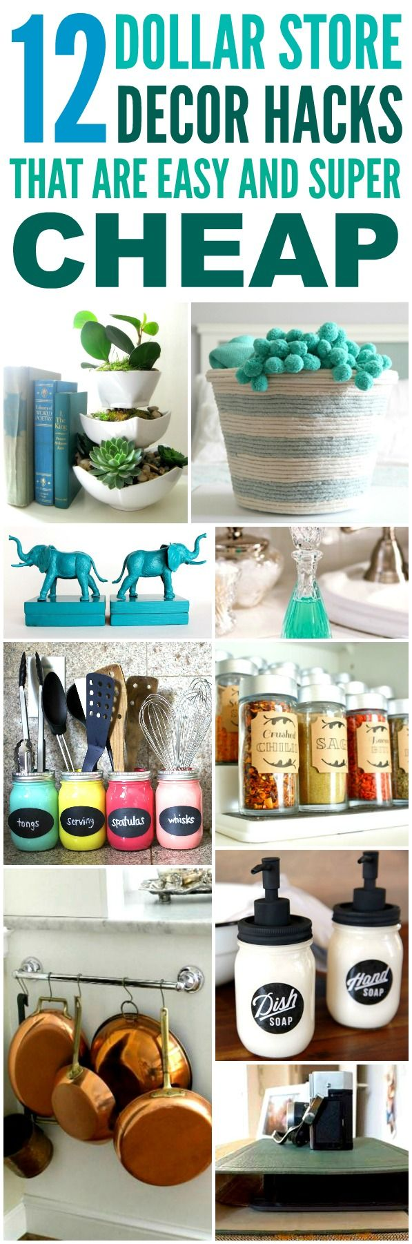 These 12 Dollar Store Decor Hacks are THE BEST! I'm so glad I found these AWESOM...