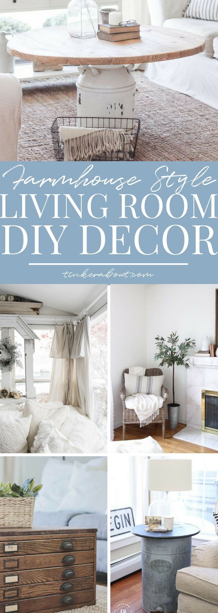 This post is a collection of 13 absolutely gorgeous Farmhouse living room decor ...