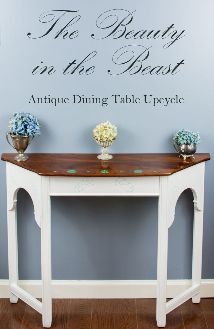 Turquoise Stone Inlayed Console Table {The Beauty in the Beast} | Upcycled furni...