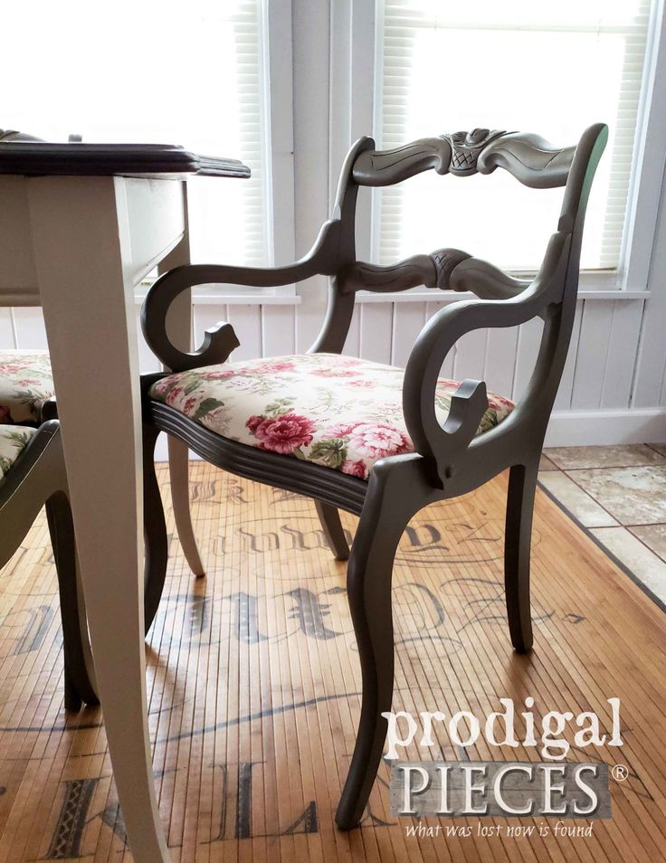 Vintage Captain's Chair with Rose Bud Carved Back by Larissa of Prodigal Pieces ...