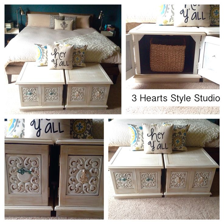 Vintage nightstands turned seating bench. Painted furniture Denver and Colorado ...