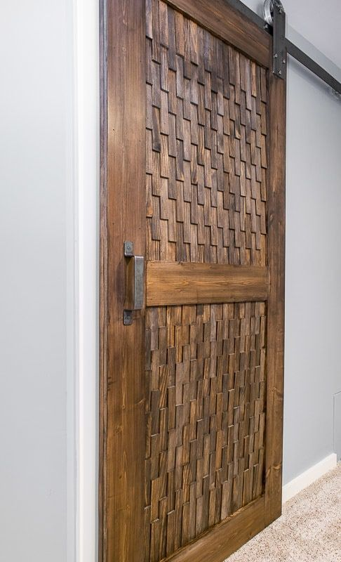Want a different take on a sliding barn door? This texture is amazing!   DIY bar...
