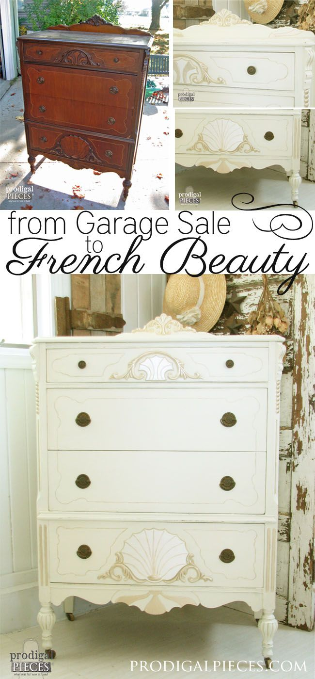 Worn out Art Deco chest of drawers gets a French makeover complete with jewels b...