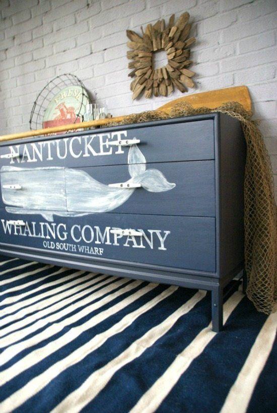 nautical whale dresser - Check out these 15 Nautical Furniture Flips - DIY furni...